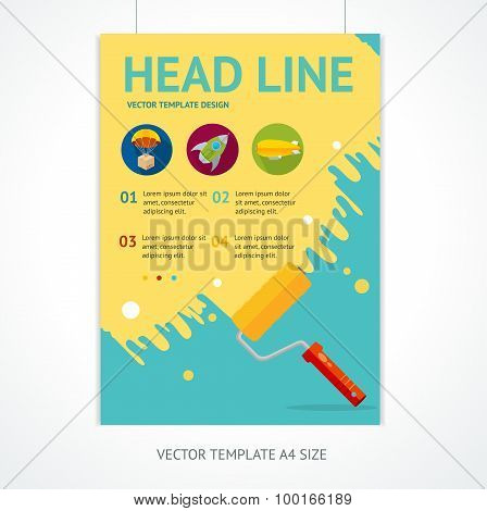 Placard Poster Template with Rollerbrush. Vector