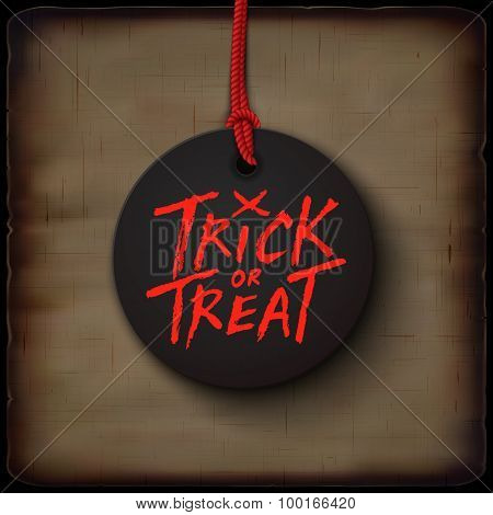 Halloween Card, Trick Or Treat Handwritten Text On Black Banner. Vector Illustration