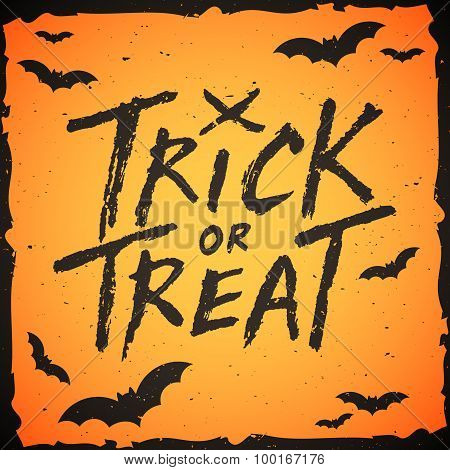Trick Or Treat Handwritten Text, Halloween Vector Illustration