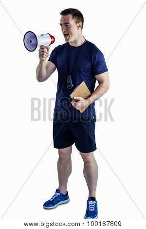 Trainer yelling through the megaphone on a white background