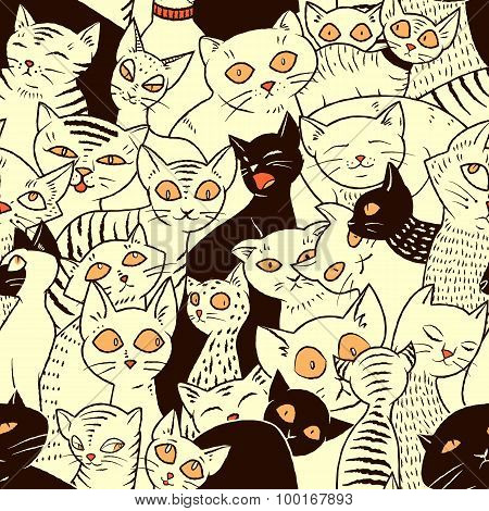 Seamless Vector Pattern With Cute Cats. For Wallpapers, Pattern Fills, Web Page Backgrounds