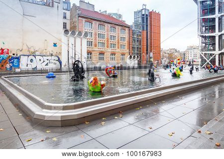 Paris. Fountain Near The Pompidou Centre..
