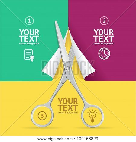 Scissors Cut Paper Option Banner.. Vector