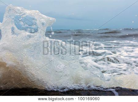 Splashes Of Aqua Blue, Frozen, Close Up