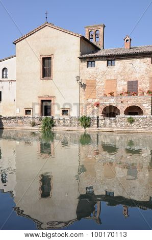Old thermal baths in Bagno Vignoni Tuscany Italy