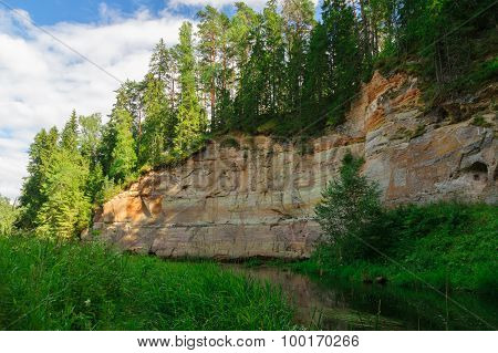 Picturesque Outcrops Of Taevaskoda On Ahja River, Estonia