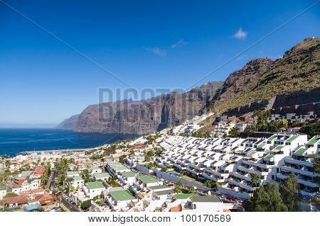 Afternoon Landscape Of Los Gigantes Resort City, Tenerife, Canary Islands, Spain