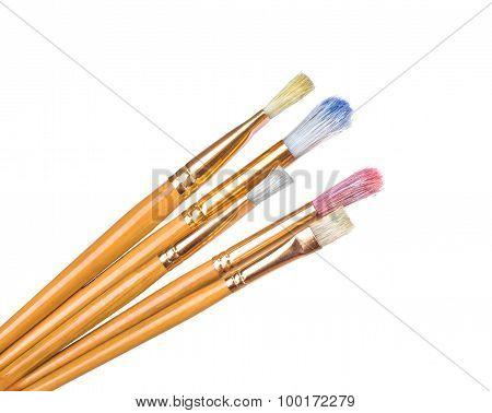 Paint Brushes On White