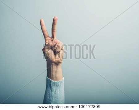 Male Hand Displayin Victory Sign