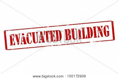 Rubber stamp with text evacuated building inside vector illustration