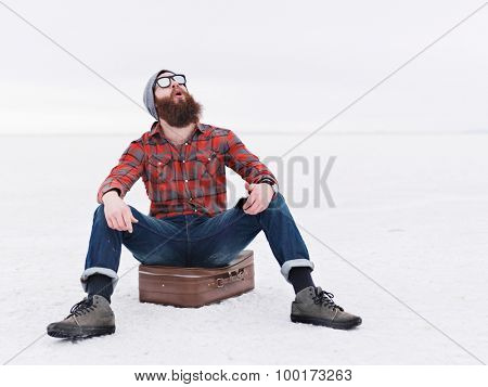 overly happy beard hipster lost in the salt flats finds directions