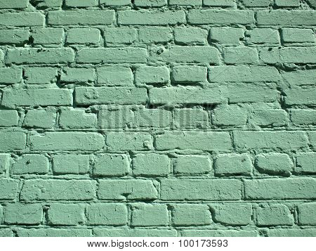 Detail Of A Green Brick Wall