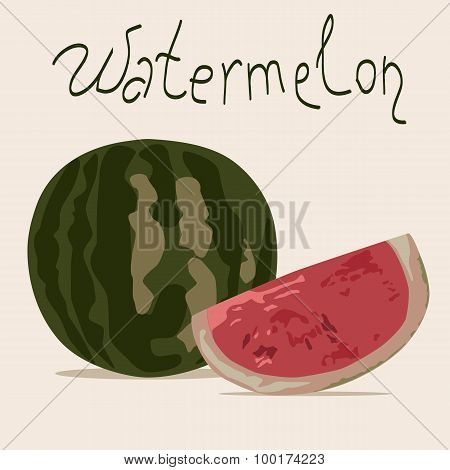 Vector illustration of watermelon (whole and piece)