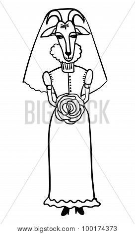 goat-bride in her wedding dress of comic cartoon outline vector illustration