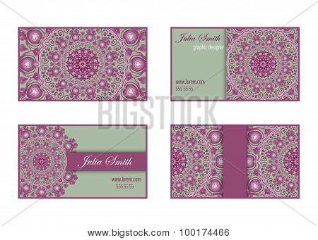 Collection Of Business Cards With Decorative Circular Ornaments