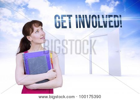 The word get involved! and woman holding her school notebooks against opening doors in sky