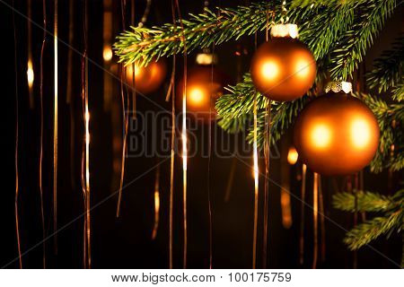 Black Christmas Background With Balls