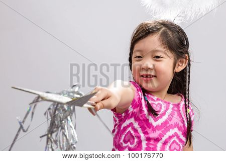 Girl With Magic Wand Background / Girl With Magic Wand / Girl With Magic Wand On Isolated White Back
