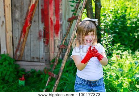 Girl With A Brush With Red Paint,