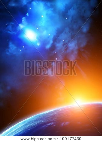 A beautiful space 3d scene with sun, planets and nebula. Elements of this image furnished by NASA