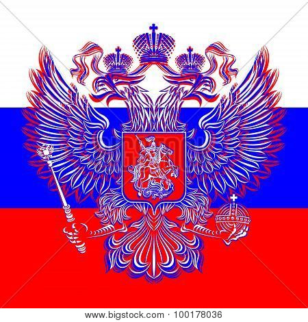 Russian double-headed eagle coat of arms on the background of the flag