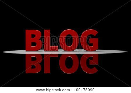Blog, Red Text, 3D Rendering With Reflection