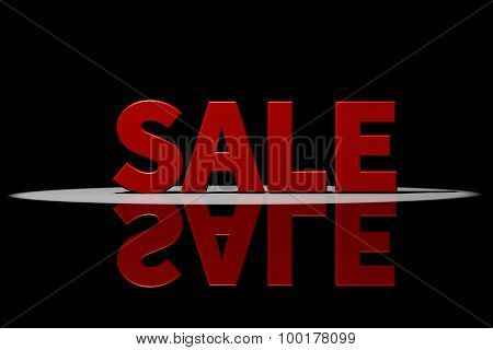 Sale, Red Text, 3D Rendering With Reflection