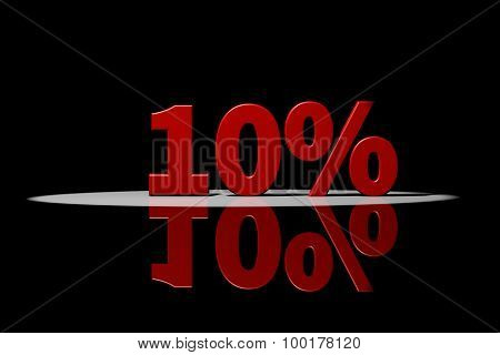 10 Percent, Red Text, 3D Rendering With Reflection