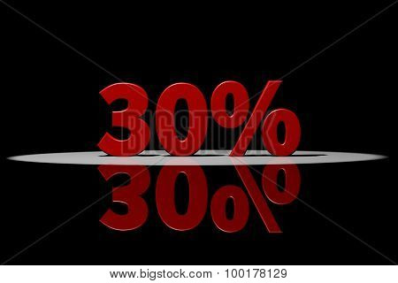 30 Percent, Red Text, 3D Rendering With Reflection