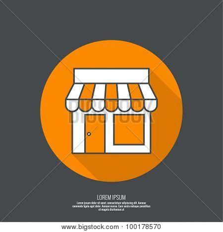 Facade of shops, supermarkets, marketplace.
