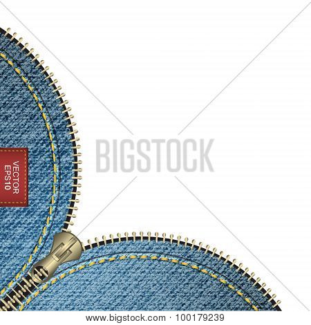 Realistic vector denim background with stitch effect and zipper