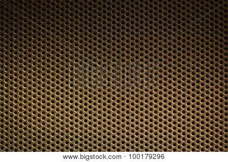 Dark Brown Metal Background With Holes. Metal Grid.