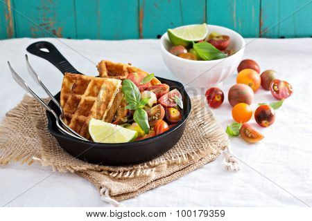 Savory waffles with cheese and cornmeal