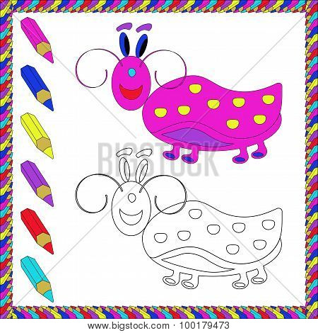 Coloring Book with insects (beetle). Vector illustration.