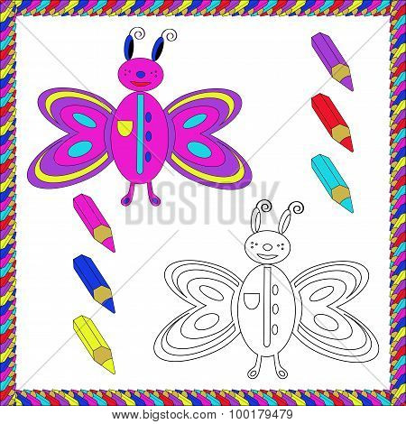 Coloring Book with insects (butterfly). Vector illustration.