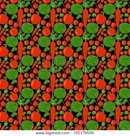 Seamless pattern with apple, cabbage, carrot and cherry on black background