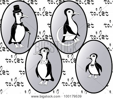 vector restroom icons: penguins as lady, man, child and disability