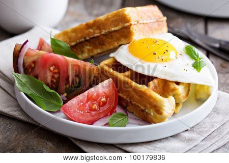 Chickpeas flour waffles with egg