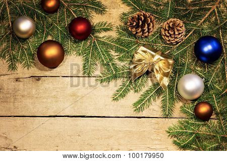 Christmas Balls And Fir Cones And Branches