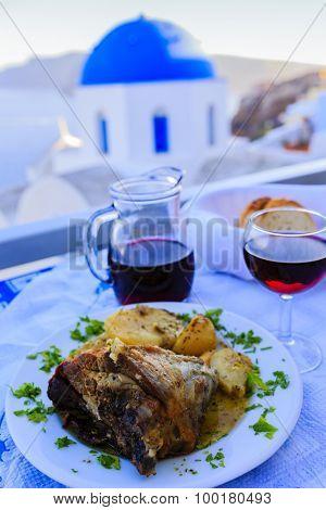Greek cuisine - roast lamb, a dish
