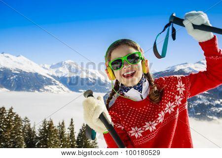Ski, winter vacation, snow, skier - girl enjoying winter