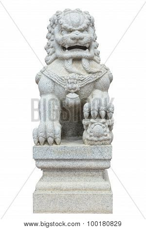 Chinese Imperial Lion, Guardian Lion Stone, Chinese Style On White Background Isolate