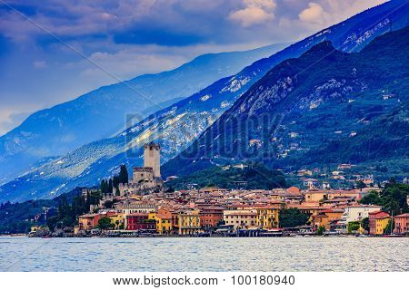 Lake Garda (Lago di Garda), Malcesine, Italy - sunset
