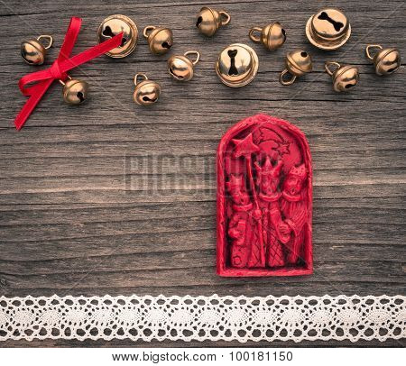 Christmas Decoration Of Wax, The Three Magi, Bells, Lace On Wood