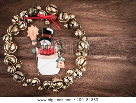 Christmas, Bells On Wood, Christmas Decoration, Snowman, Copy Space