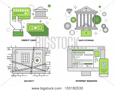 Banking Security Flat Line Illustration