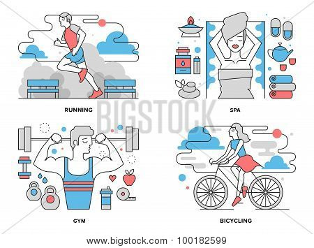 Healthy Life Flat Line Illustration