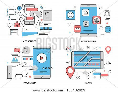 Smartphone Apps Flat Line Illustration