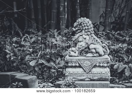 Chinese Imperial Lion, Guardian Lion Stone, Chinese Style In Chinese Temple, Monotone