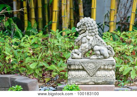 Chinese Imperial Lion, Guardian Lion Stone, Chinese Style In Chinese Temple Garden